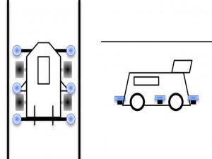 ガイドローラーの取り付け例(前+横+後)