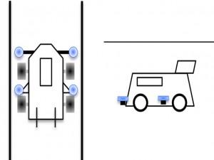 ガイドローラーの取り付け例(前+横)
