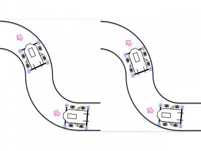 ガイドローラーの取り付け幅によるミニ四駆の走行の違いのイメージ