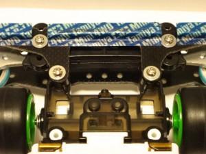 ライジングエッジ(MSシャーシ)へのリヤワイドスライドダンパーの取り付けに使用したFRPプレート