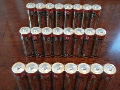 検証で使う予定の新品のアルカリ電池